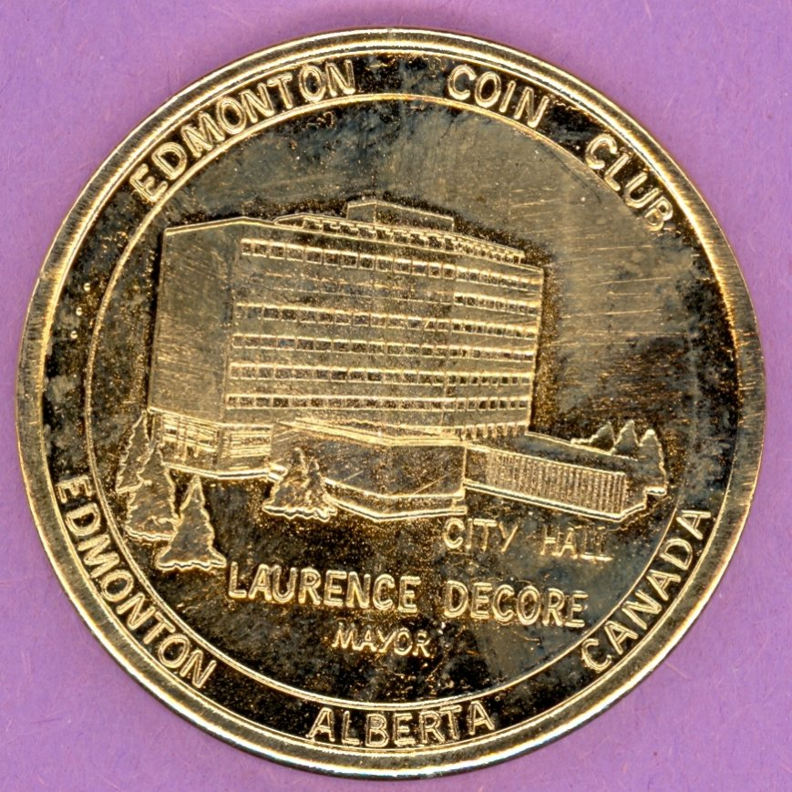 1984 Edmonton Coin Club Edmonton Alberta 30 Year Private Token Without Maple Leaf GOLD PLATE