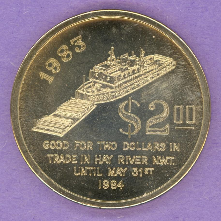 1984 Hay River Northwest Territories Trade Token or Dollar Tug Pushing a Barge