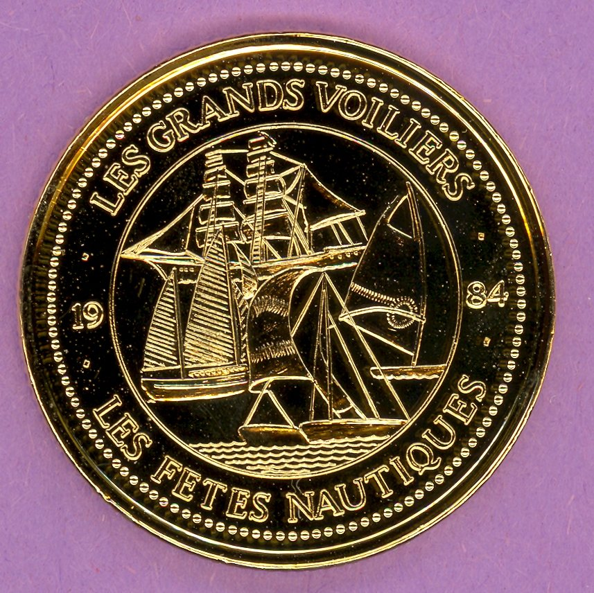 1984 La Grande Allee Quebec Private Trade Token or Dollar Les Grands Voiliers GOLD PLATED