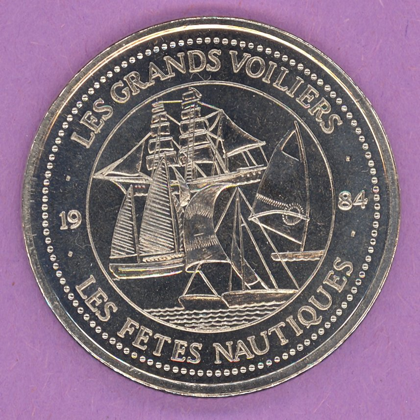 1984 La Grande Allee Quebec Private Trade Token or Dollar Les Grands Voiliers NICKEL BONDED STEEL