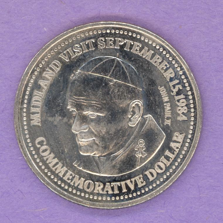 1984 Midland Ontario Trade Token or Dollar Pope John Paul II Martyrs' Shrine
