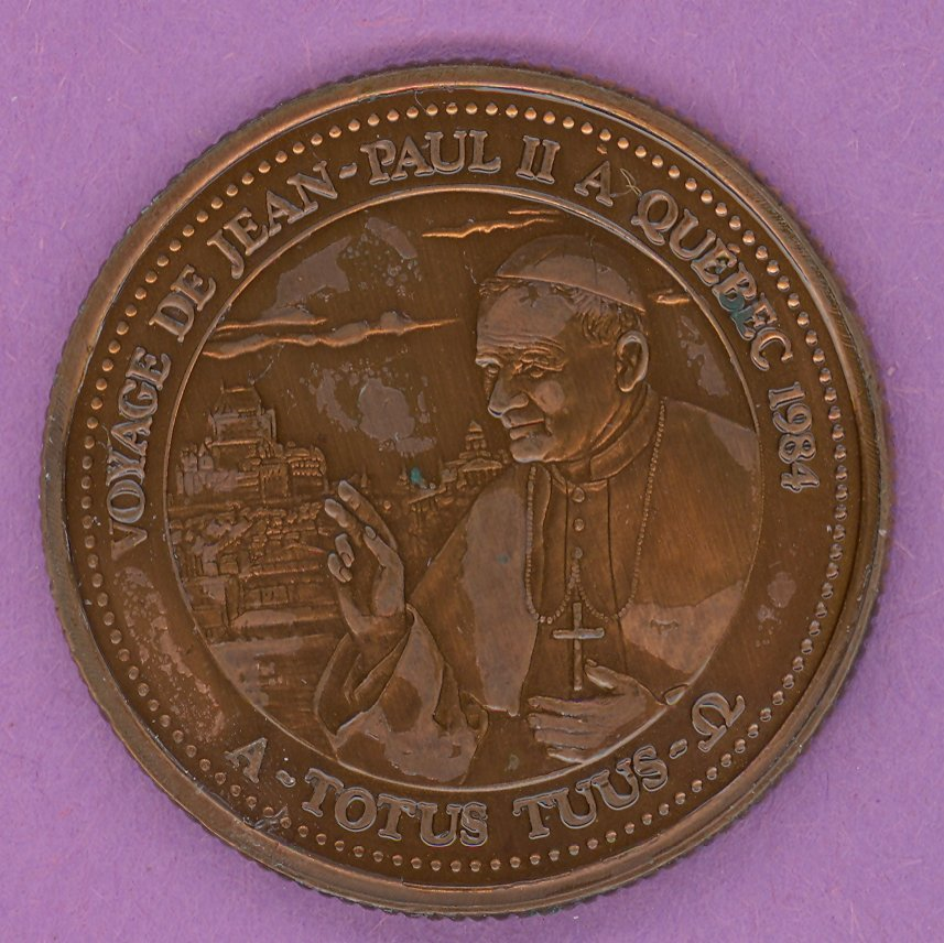 1984 J A Moisan Store Quebec 30 sous Private Trade Token Pope Jean Paul II Store ANTIQUE COPPER