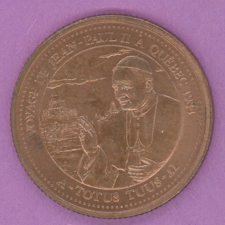 1984 J A Moisan Store Quebec 30 sous Private Trade Token Pope Jean Paul II Store COPPER