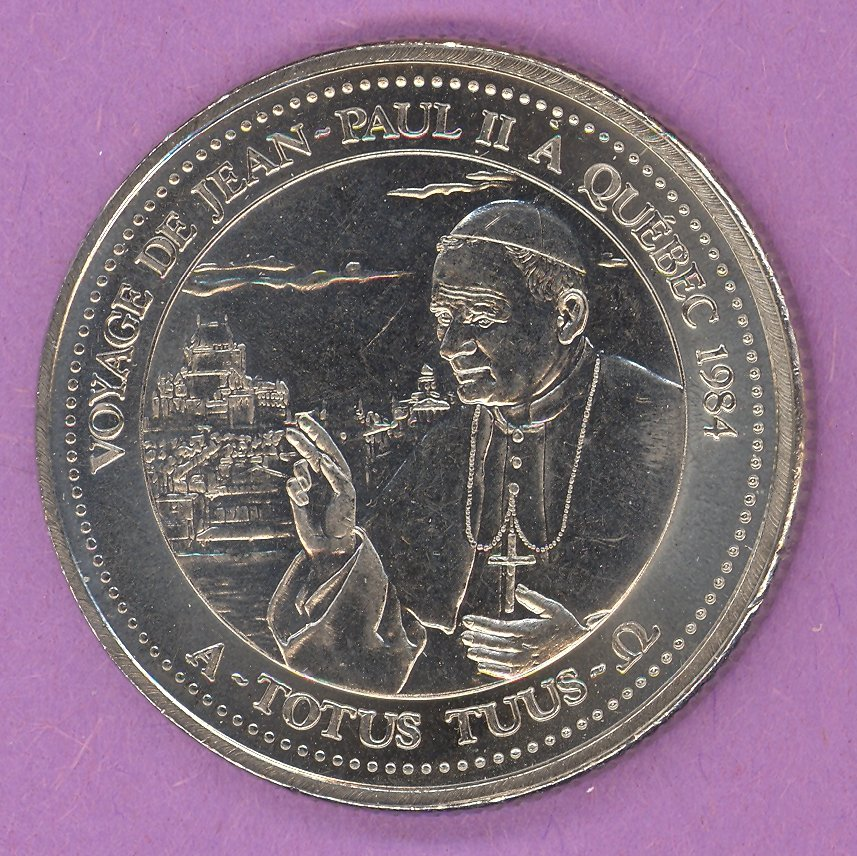 1984 J A Moisan Store Quebec 30 sous Private Trade Token Pope Jean Paul II Store NICKEL