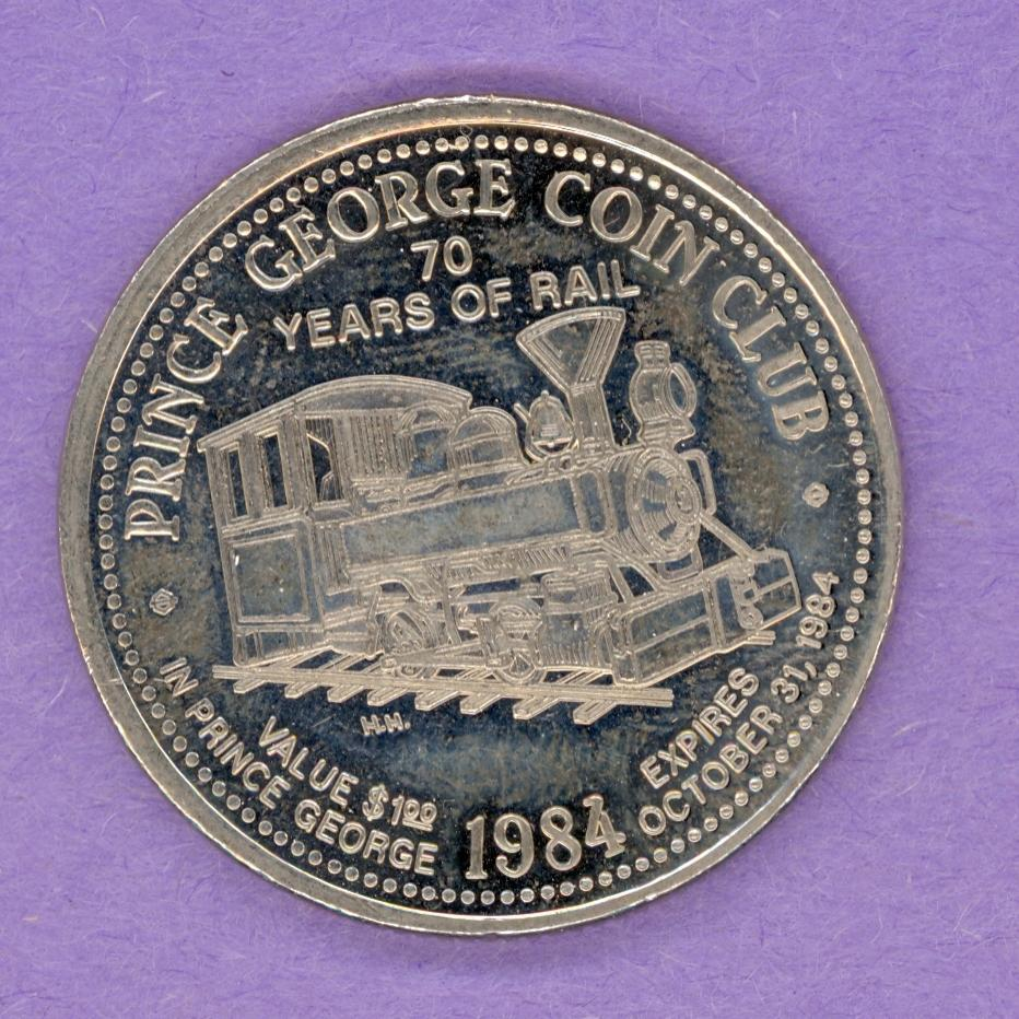 1984 Prince George BC Trade Token - Mr PG Locomotive