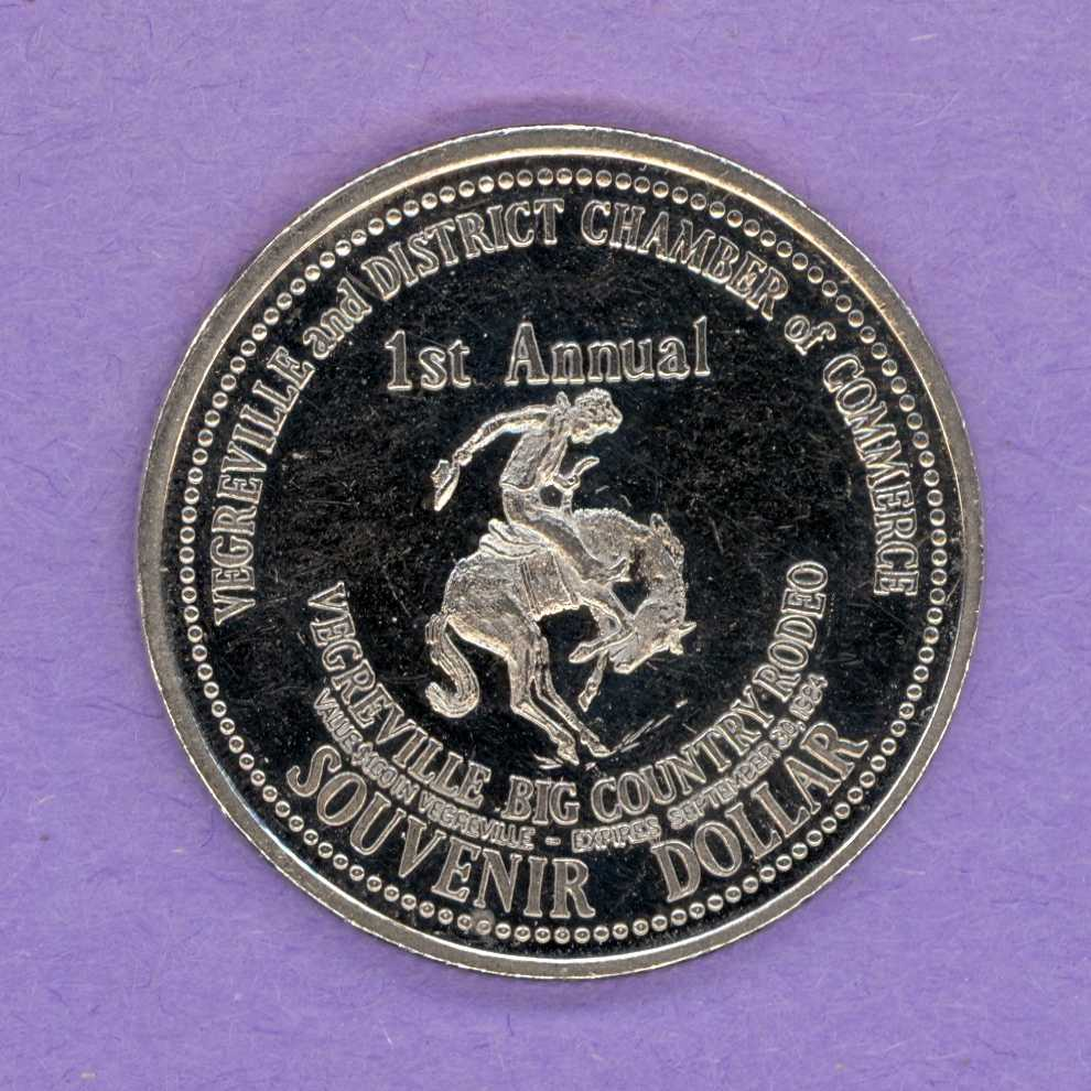 1984 Vegreville, Alberta Trade Dollar - Bucking Bronco