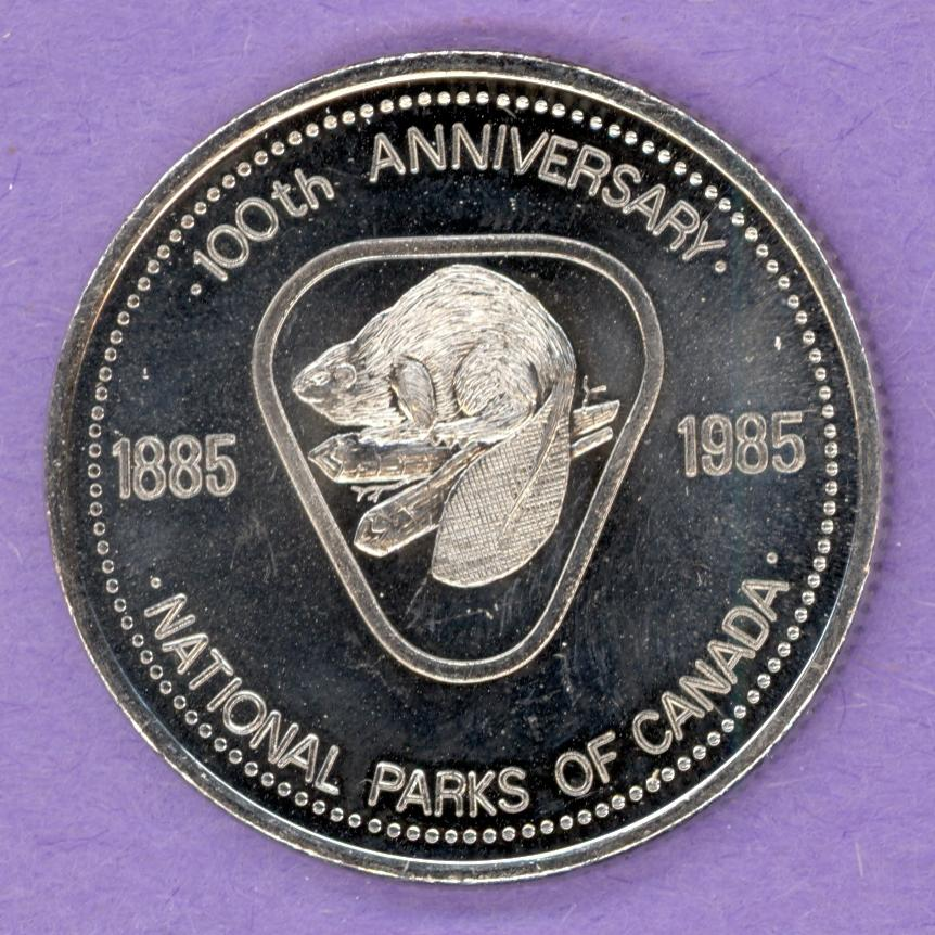 1985 Jasper Alberta Trade Dollar - National Park Centennial