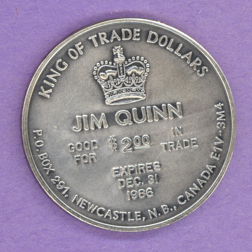1985 Jim Quinn Private Trade Token Christmas Newcastle New Brunswick AAgP ENGLISH