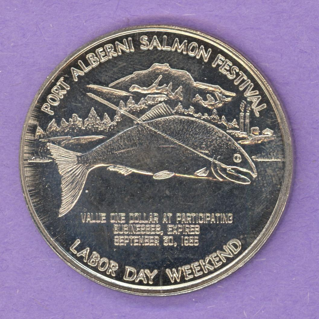 1985 Port Alberni BC Trade Token or Dollar Line Attached