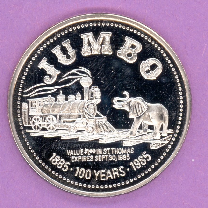 1985 St Thomas Ontario Trade Token or Dollar Elephant Train SILVER