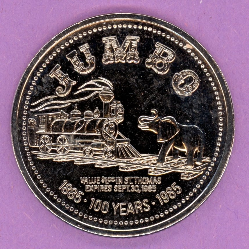 1985 St Thomas Ontario Trade Token or Dollar Elephant Train RHODIUM PLATED