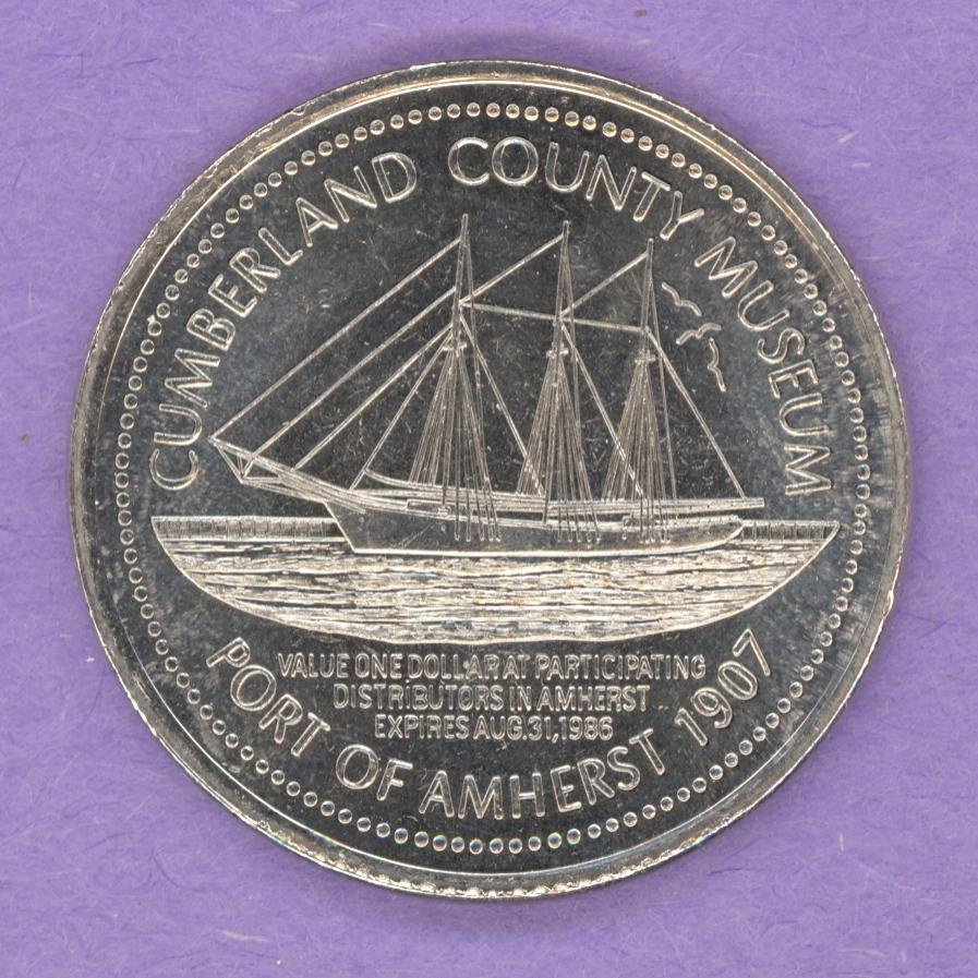 1986 Amherst Nova Scotia Trade Token - Ship