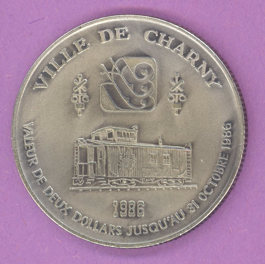 1986 Charny Quebec Municipal Trade Token or Dollar Train Caboose ANTIQUE SILVER PLATE