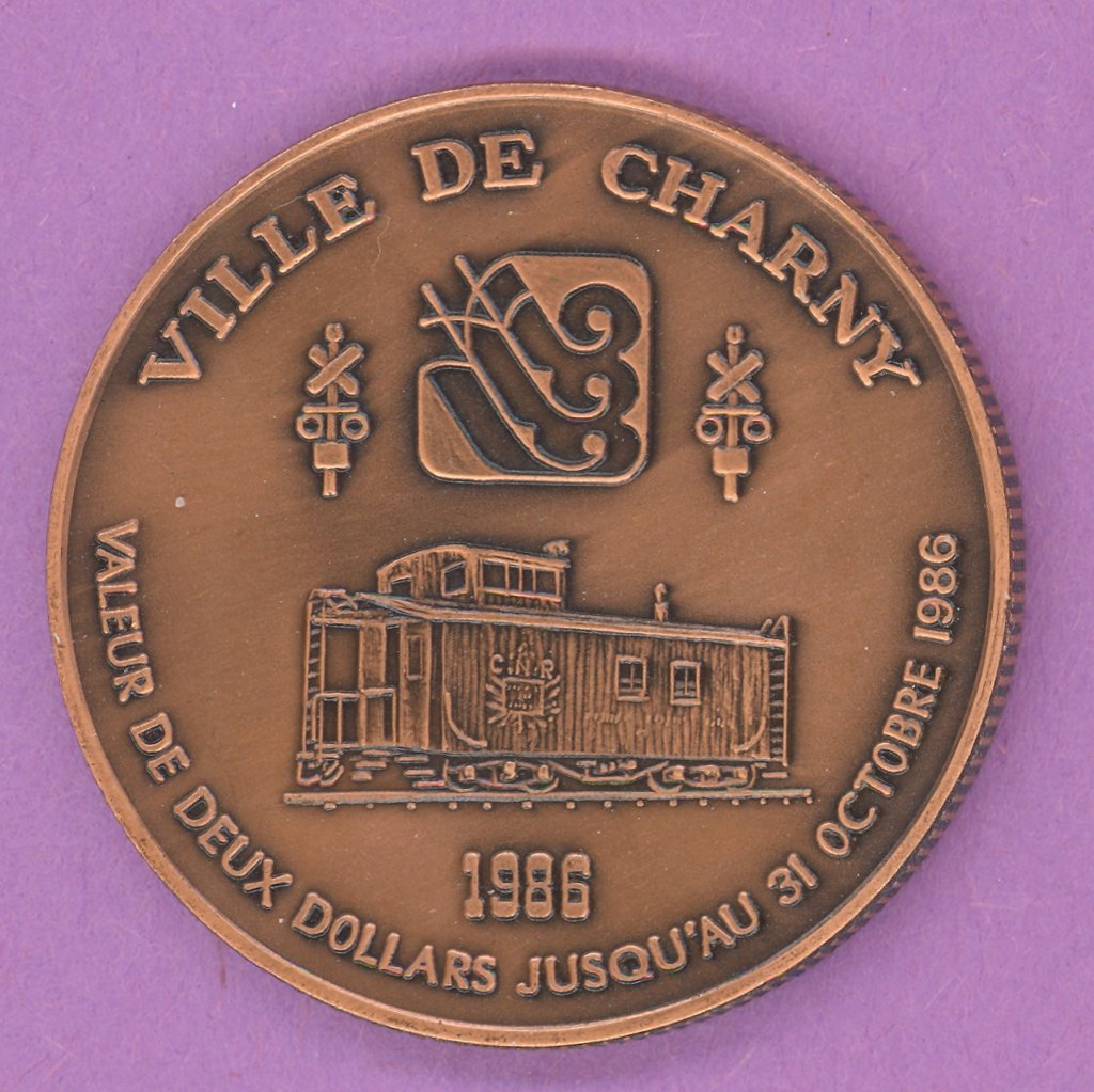 1986 Charny Quebec Municipal Trade Token or Dollar Train Caboose ANTIQUE COPPER