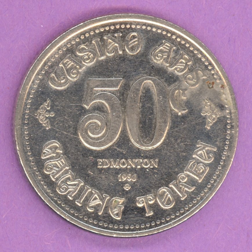 1986 Edmonton Alberta Casino ABS Gaming Token 50¢ Nickel Bonded Steel