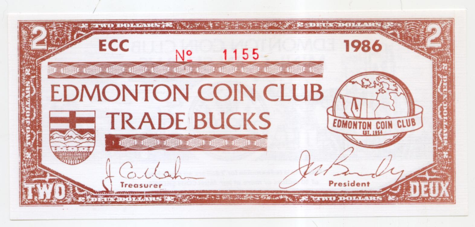 1986 Edmonton Alberta Coin Club Trade Note