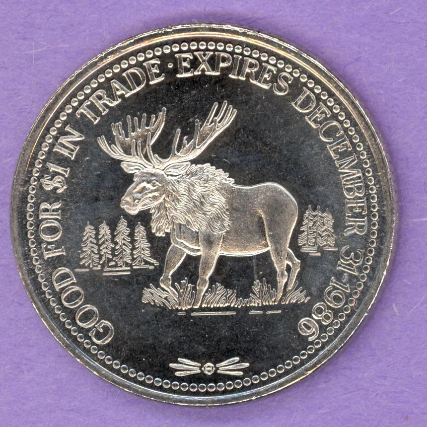1986 High Prairie Alberta Trade Token - Moose