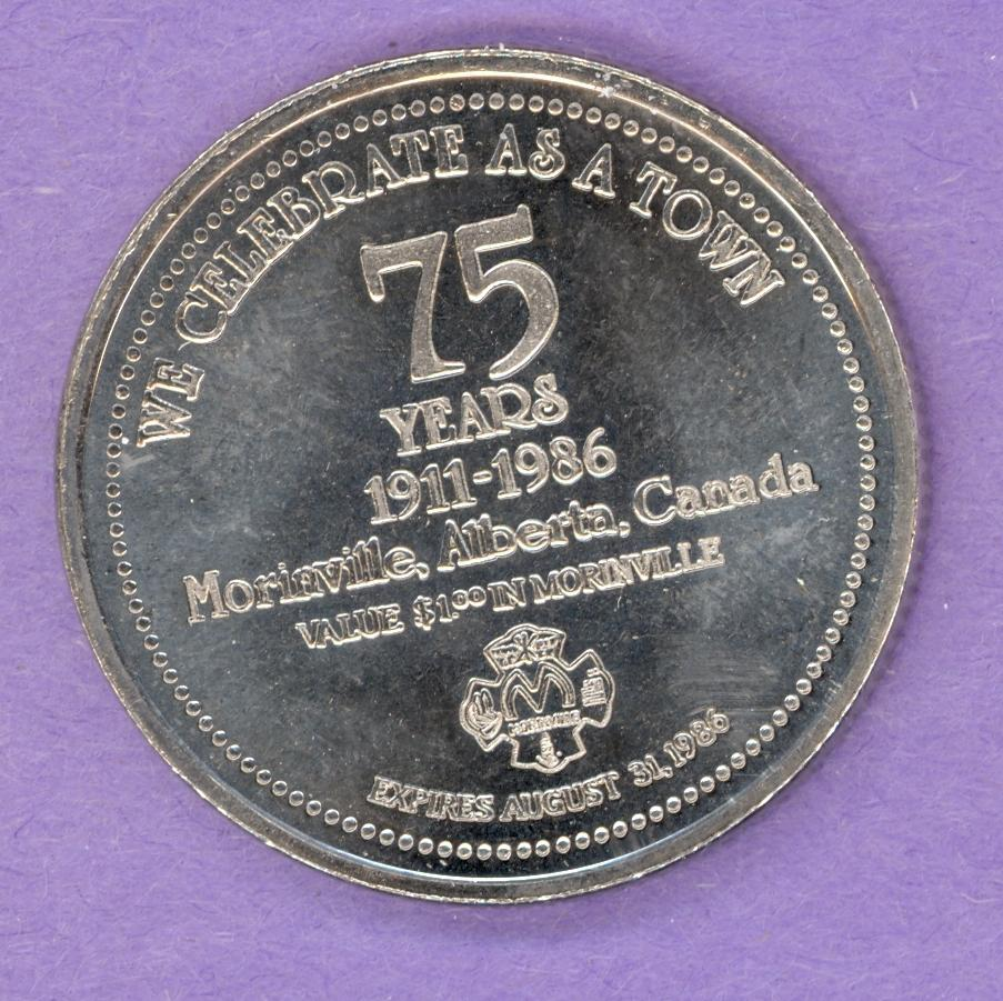 1986 Morinville Alberta Trade Token - 75th Anniversary