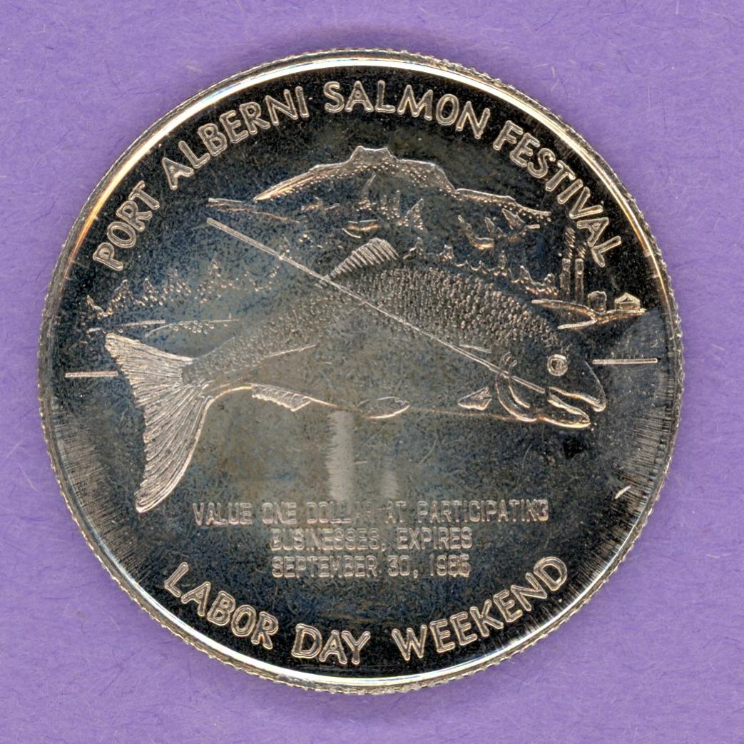 1986 Port Alberni BC Trade Token or Dollar Salmon Lumberjack NBS