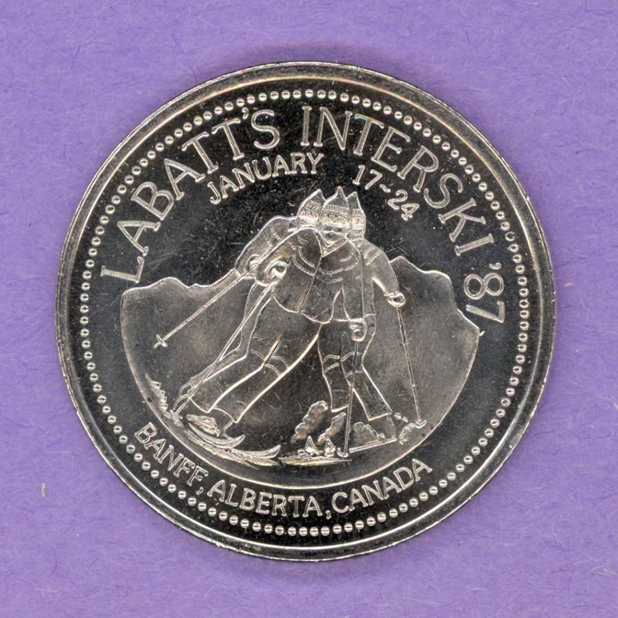 1987 Banff Trade Token - Mt. Temple and Skiers