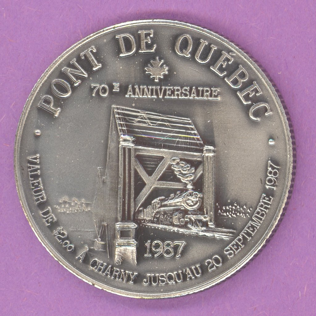 1987 Charny Quebec Municipal Trade Token or Dollar Train Quebec Bridge ANTIQUE SILVER PLATE