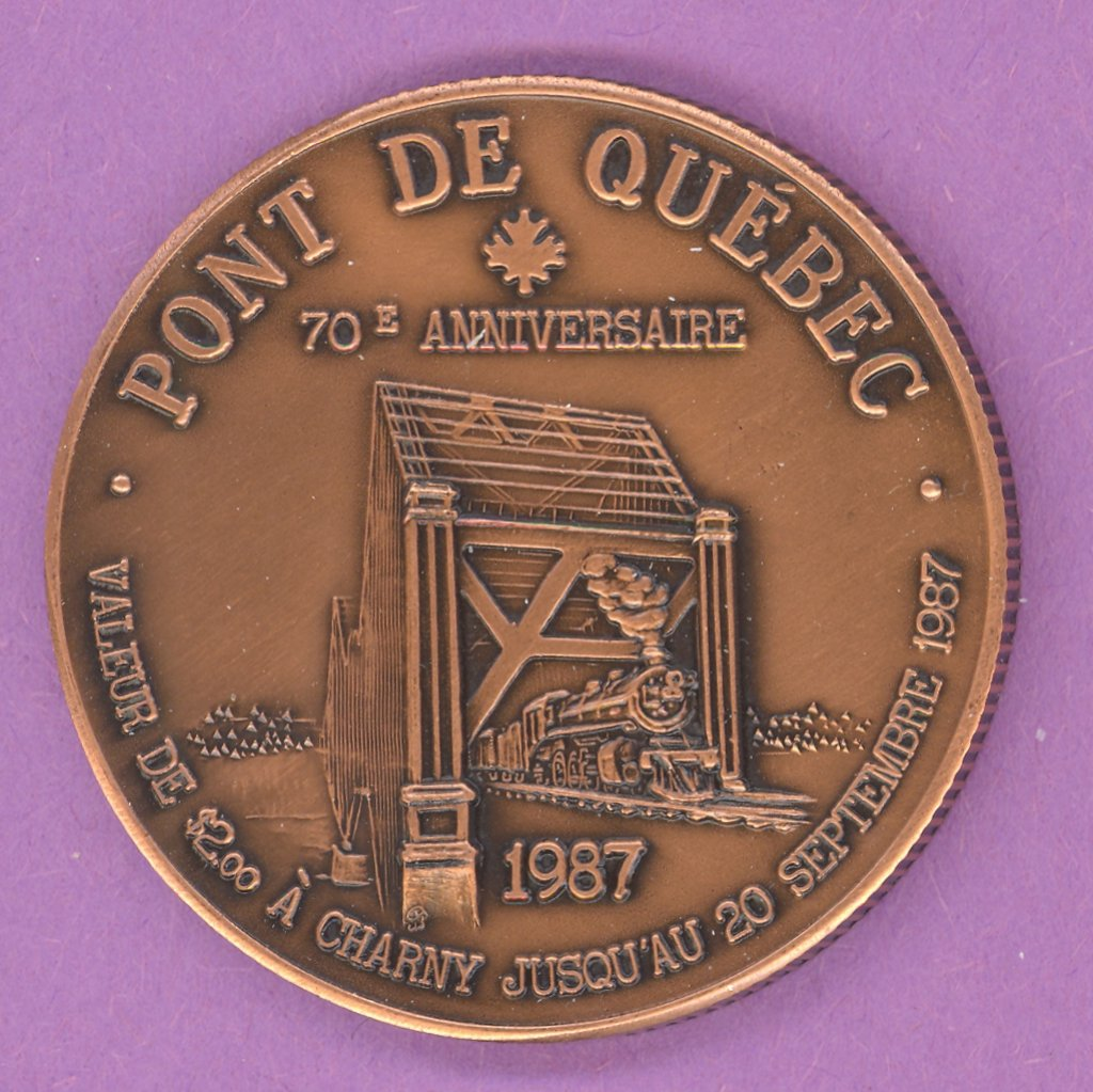 1987 Charny Quebec Municipal Trade Token or Dollar Train Quebec Bridge ANTIQUE COPPER