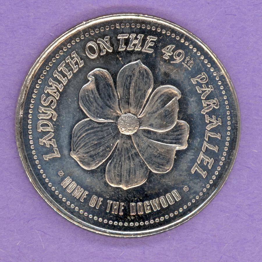 Vancouver Island CANADA 1987 Dogwood Flower Trade DOLLAR Token Ladysmith BC