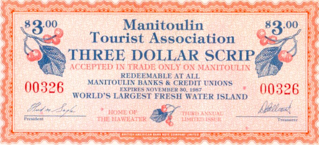 1987 Manitoulin Island Trade Note or Script