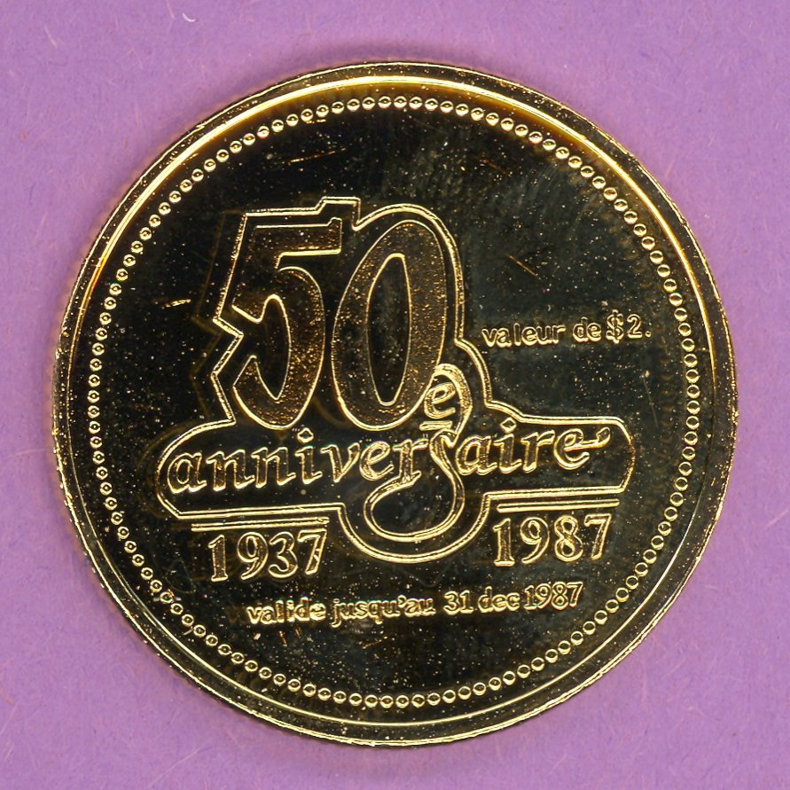 1987 Matane Quebec Municipal Trade Token or Dollar 50th Anniversary Crest GOLD PLATE