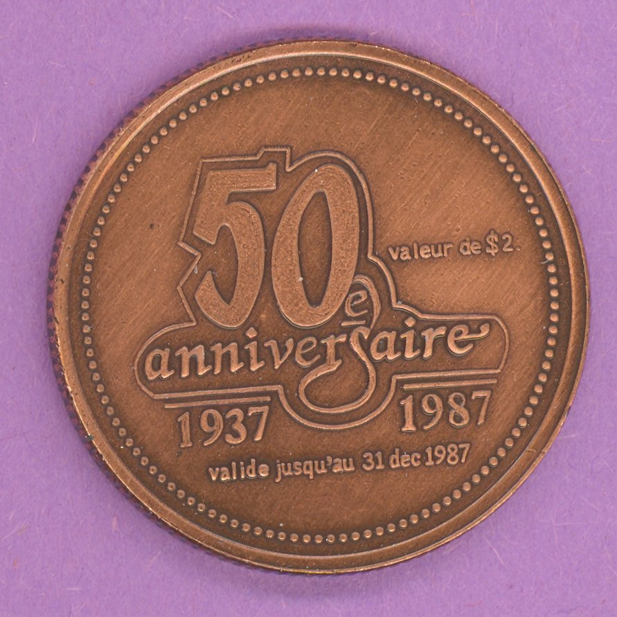 1987 Matane Quebec Municipal Trade Token or Dollar 50th Anniversary Crest BRONZE PLATE