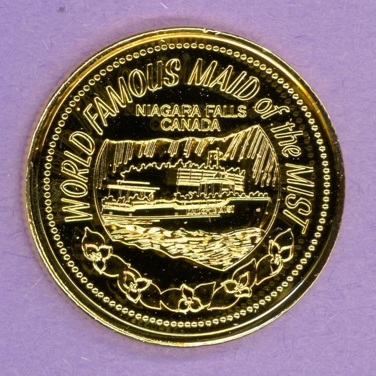 1987 Niagara Falls Ontario Trade Token or Dollar Maid of the Mist Boat GOLD PLATED