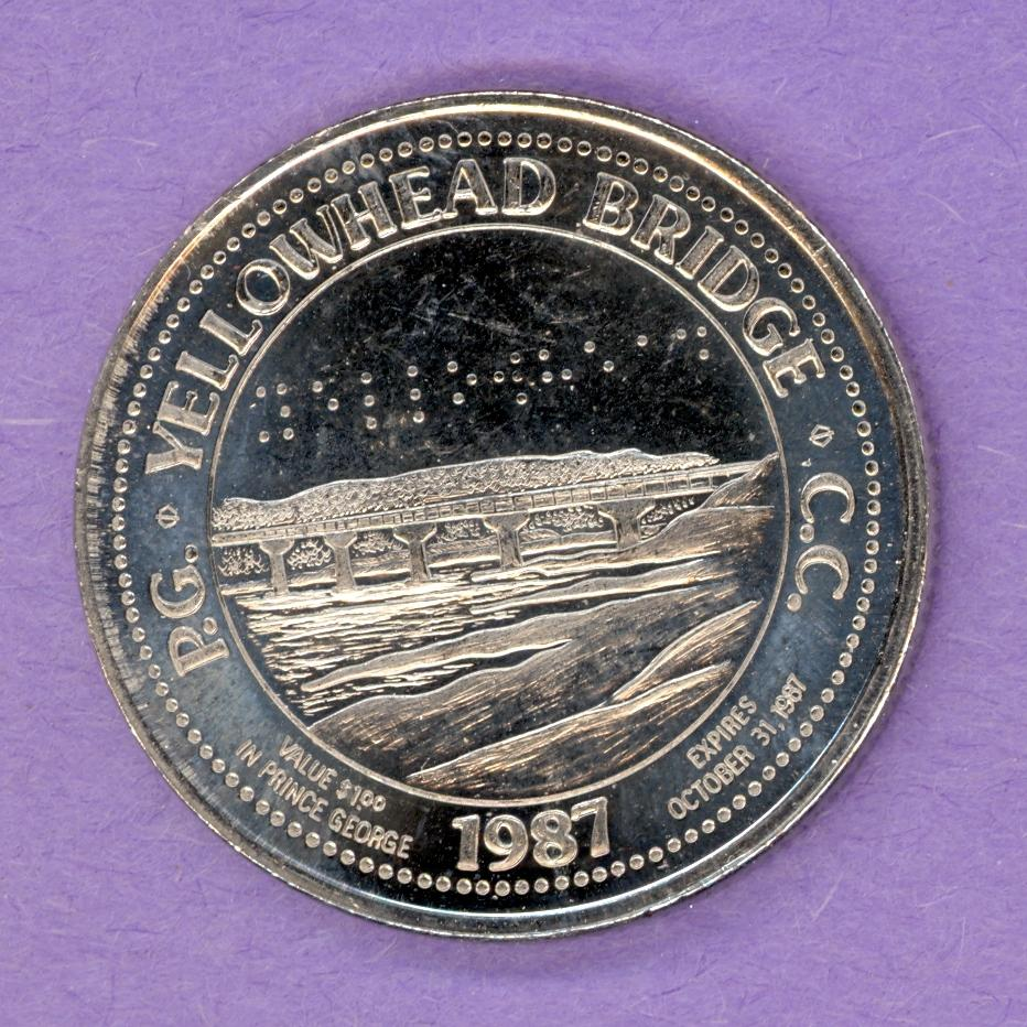 1987 Prince George Trade Token - Yellowhead Bridge Voyageurs NBS