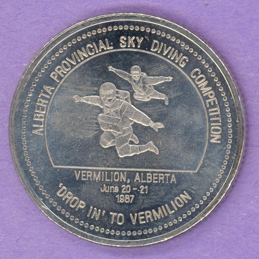 1987 Vermillion, Alberta Trade Dollar - Skydivers