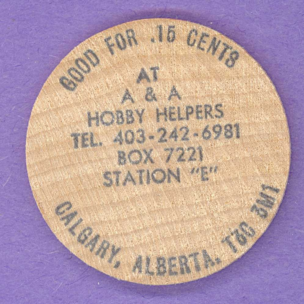 1988 A & A Hobby Helpers Calgary Olympic Wooden Nickel
