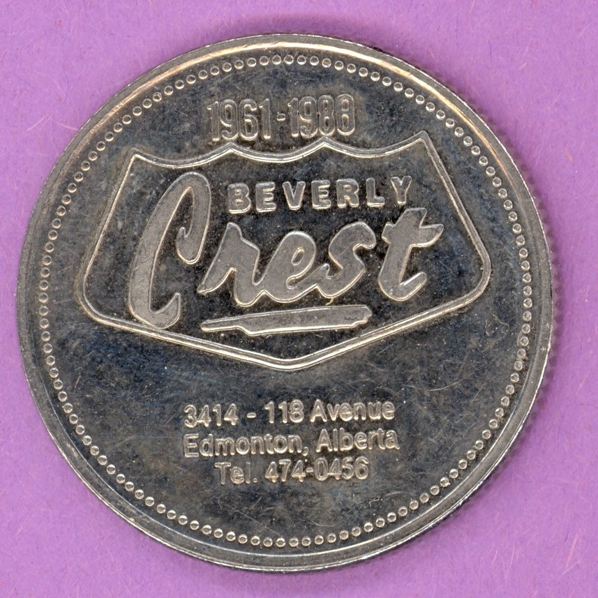 1988 Beverly Crest Motor Inn Edmonton Alberta Private Trade Token Good for $2