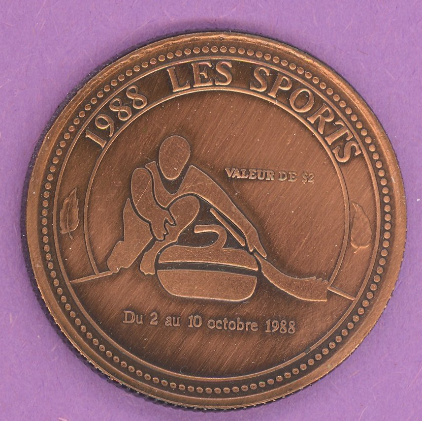 1988 Rimouski Quebec Municipal Trade Token or Dollar Curler Festival Logo BRONZE PLATED