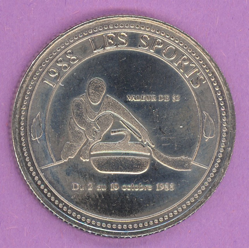 1988 Rimouski Quebec Municipal Trade Token or Dollar Curler Festival Logo NICKEL BONDED STEEL