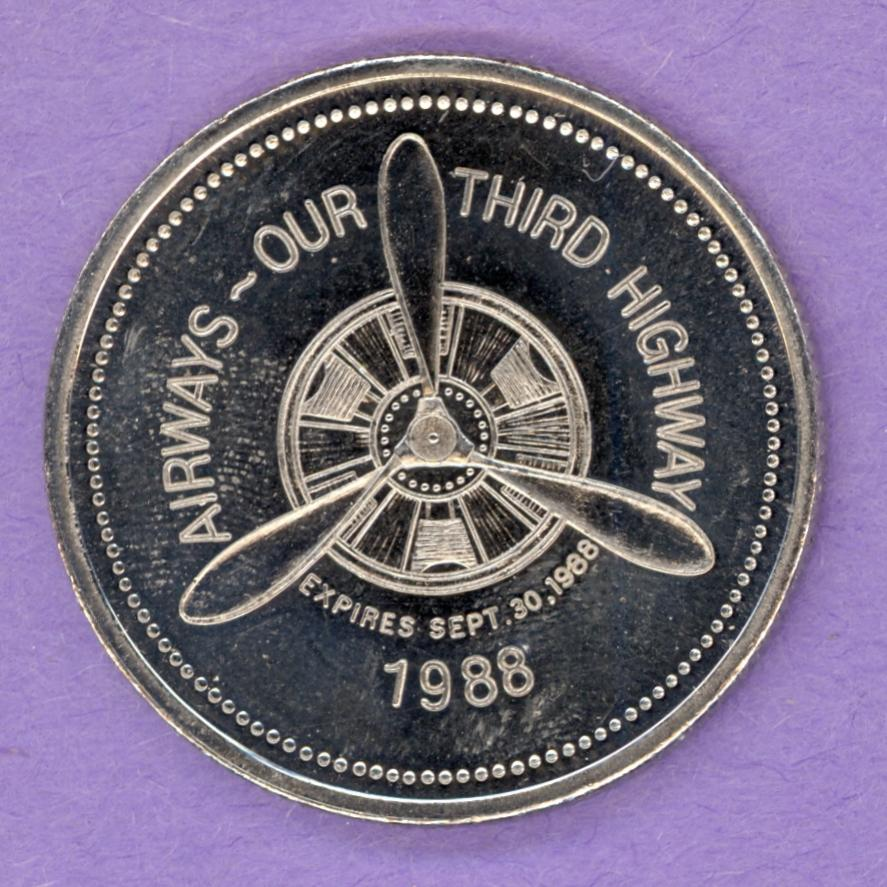 1988 Whitehorse Yukon Trade Token or Dollar Propellor and Paddlewheeler