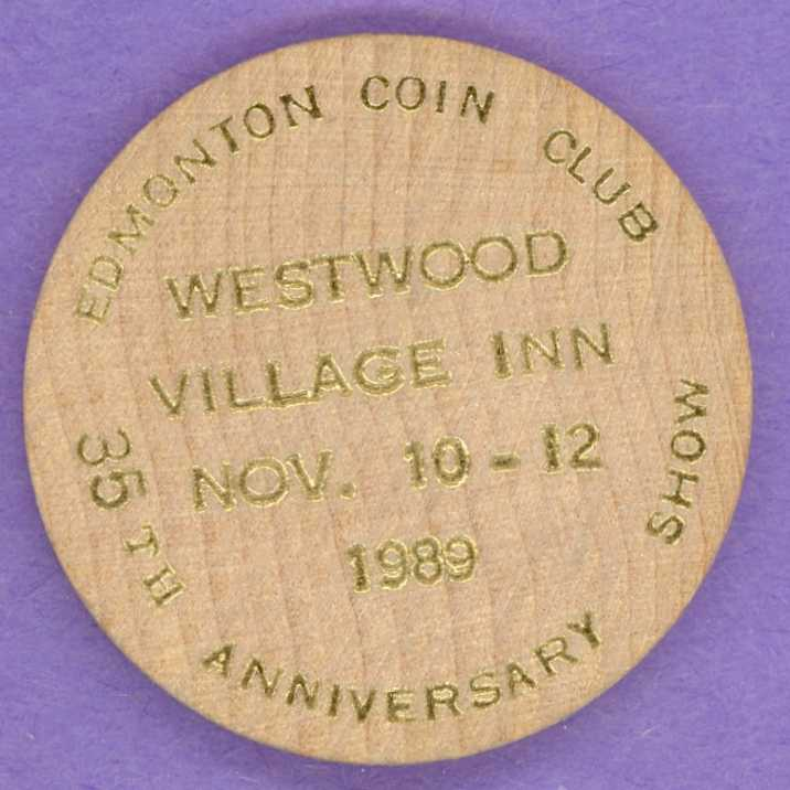 1989 Edmonton Coin Club Fall Show Wooden Nickel