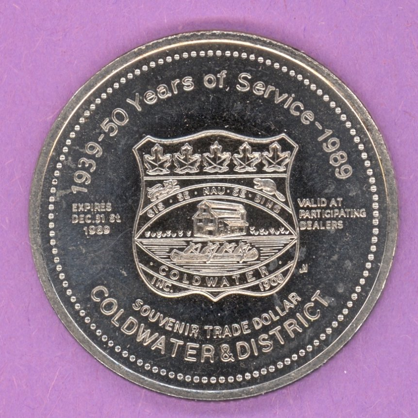 1989 Coldwater Ontario Trade Token or Dollar Crest Lions Logo NBS