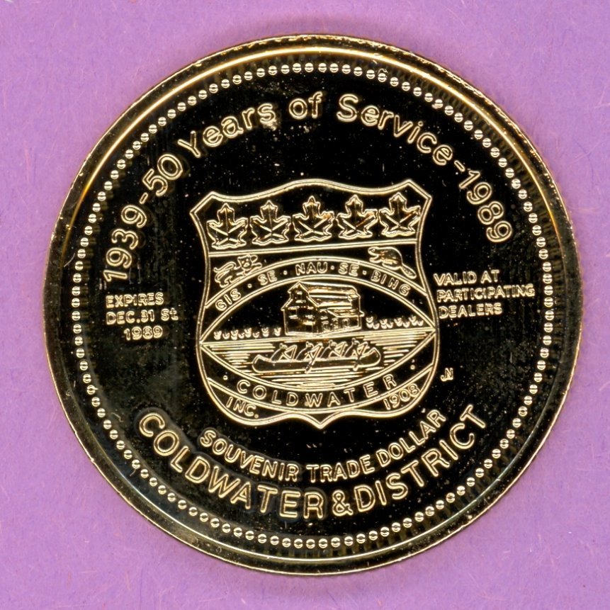 1989 Coldwater Ontario Trade Token or Dollar Crest Lions Logo GOLD PLATED
