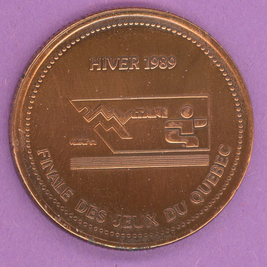 1989 Matane Quebec Municipal Trade Token or Dollar Winter Games Logo Crest BRONZE PLATE
