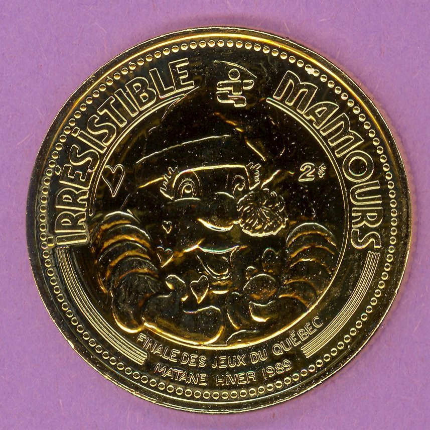 1989 Matane Quebec Municipal Trade Token or Dollar Mamours Games Mascot Crest GOLD PLATE