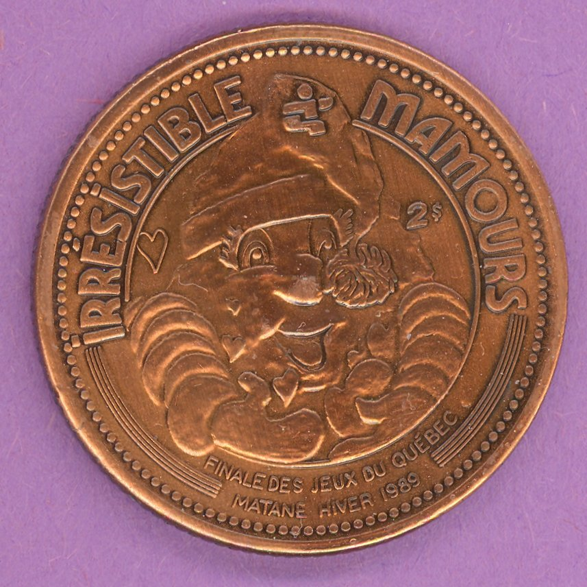 1989 Matane Quebec Municipal Trade Token or Dollar Mamours Games Mascot Crest BRONZE PLATE