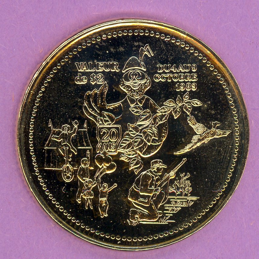 1989 Rimouski Quebec Municipal Trade Token or Dollar 20th Anniversary Festival Logo GOLD PLATED