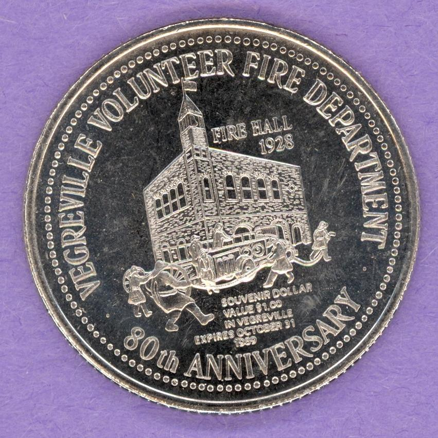 1989 Vegreville, Alberta Trade Dollar - Fire Department