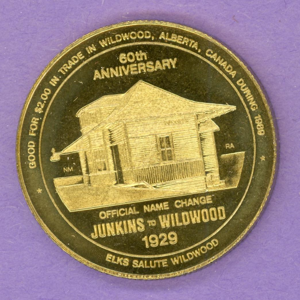 1989 Wildwood Alberta Trade Token or Dollar Railway Station Elk Brass