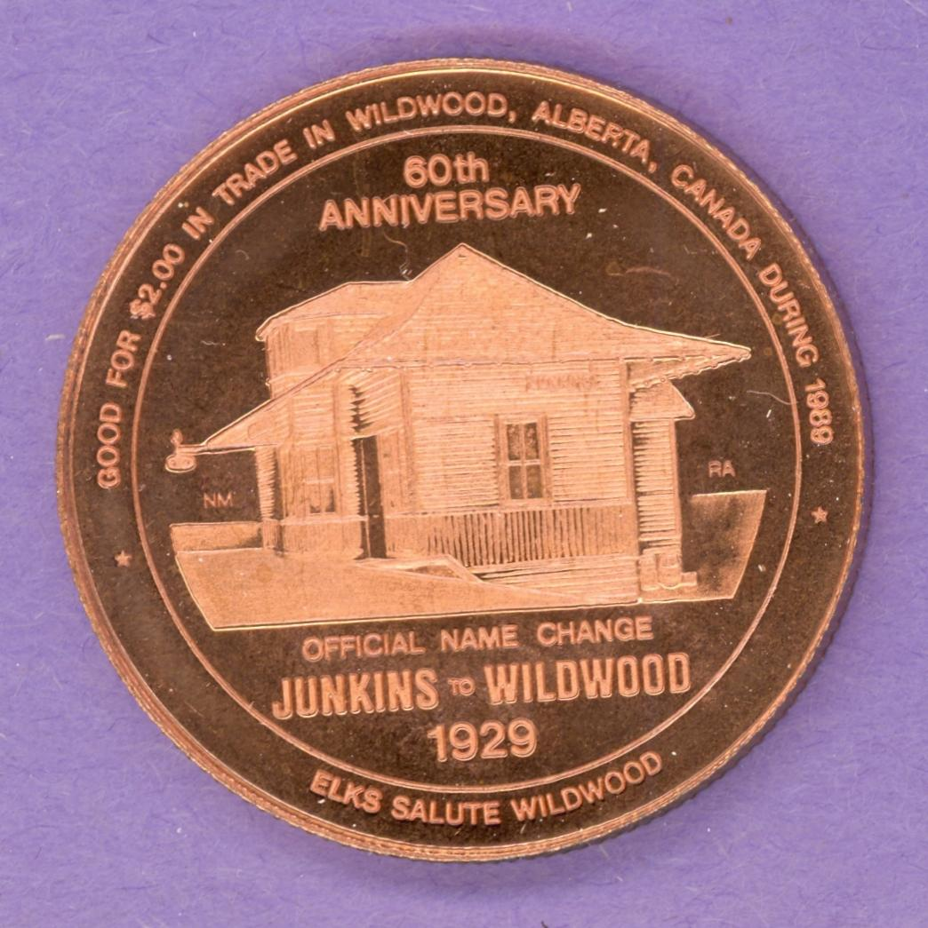 1989 Wildwood Alberta Trade Token or Dollar Railway Station Elk Copper