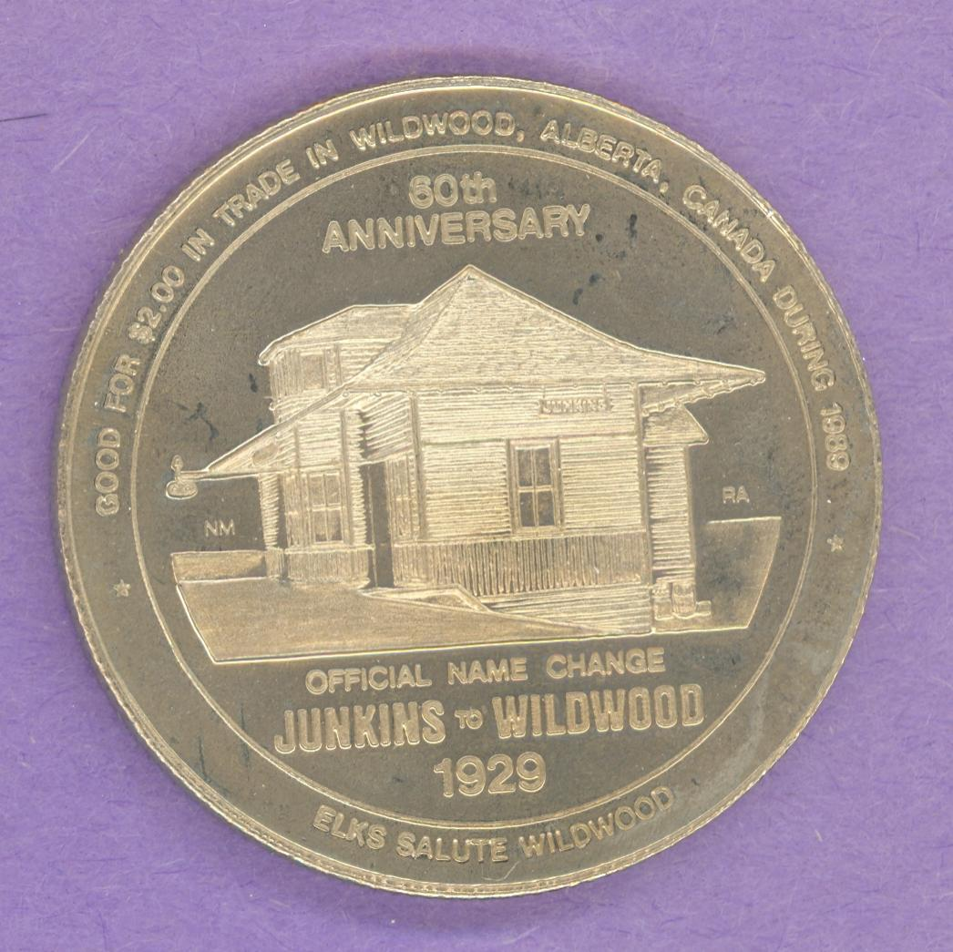1989 Wildwood Alberta Trade Token or Dollar Railway Station Elk Nickel Silver
