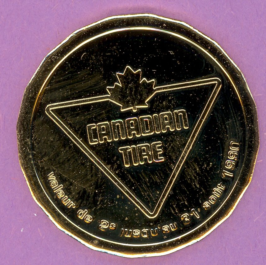 1990 Canadian Tire Quebec Private Trade Token Quebec Games GOLD PLATE
